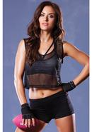 Athletic Fishnet Crop Muscle Tank- O/s